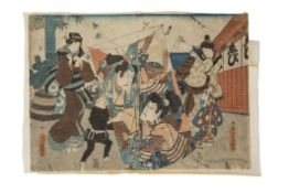 19th century Japanese woodblock print depicting revellers flying kites, the central kite with a