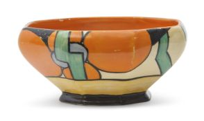 Clarice Cliff octagonal bowl in the Picasso Flower pattern, with a Fantasque back stamp and