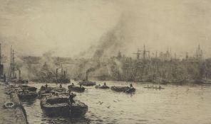 """William Lionel Wyllie, RA, RI, RE (1851-1931), """"The Tyne at Newcastle"""", black and white etching,"""