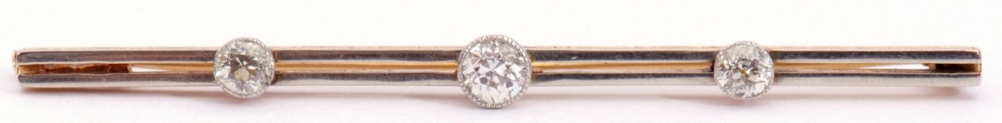 Late Victorian diamond set bar brooch comprising a double rectangular bar with engraved foliate