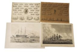 """After G H Atkins, """"HMS Victory, 104 guns"""", sepia lithograph published by Newman & Co, 28 x 42cm."""