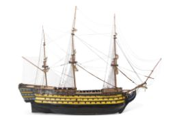 Wooden model of HMS Victory with rigging built in the 1960s, constructed using a copy of the