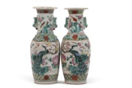Pair of Chinese vases with polychrome decoration of dragons and birds with relief decoration of