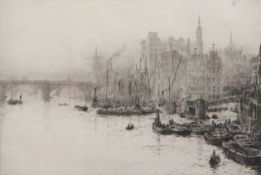 """William Lionel Wyllie, RA, RI, RE (1851-1931), """"Thames"""", black and white etching, inscribed """"Trial"""