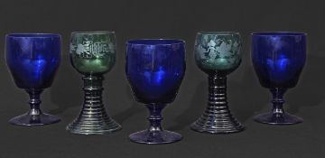 Two Bohemian style glasses with engraved decoration together with a further three Bristol Blue