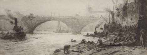 "William Lionel Wyllie, RA, RI, RE (1851-1931), ""London Bridge"", black and white etching,"