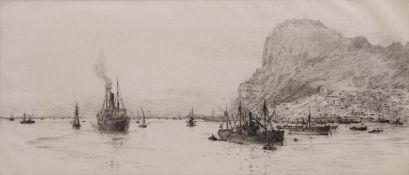 """William Lionel Wyllie, RA, RI, RE (1851-1931), """"Gibraltar"""", black and white etching, signed in"""