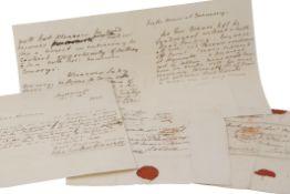 Rear Admiral Sir John Borlase Warren. Eight letters signed (John Borlase Warren) nearly all