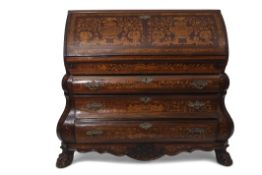 18th century Dutch marquetry bombe fronted bureau, fall front enclosing a fitted interior with