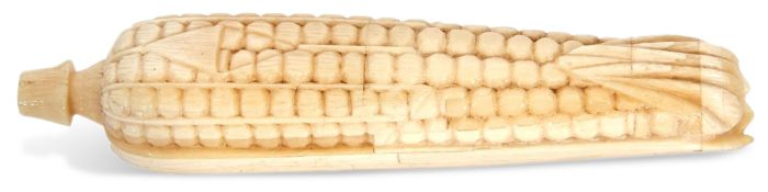 An unusual Japanese Okimono carved ivory sweetcorn Meiji period, 15cm long