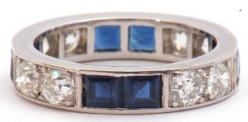 Art Deco diamond and sapphire full eternity ring, circa 1930, alternate set with two calibre cut