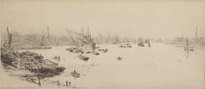 """William Lionel Wyllie, RA, RI, RE (1851-1931), """"On the Thames"""", black and white etching, published"""