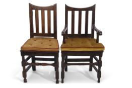 Set of 10 17th century and later oak dining chairs, all with concave cresting rails supported by