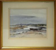 """Judith Key, """"Edge of the marsh, Overy Staithe"""", watercolour, signed lower left, 22 x 27cm"""