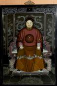 Chinese School (20th century), Figure study, reverse painting on glass, 64 x 43cm