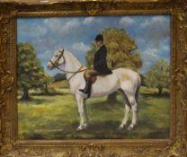 English School (20th century), Figure on horseback, oil on board, 39 x 49cm