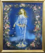 """AR Anna Katrina Zinkeisen (1901-1976), """"St Theresa"""", oil and beads on board, signed lower right"""