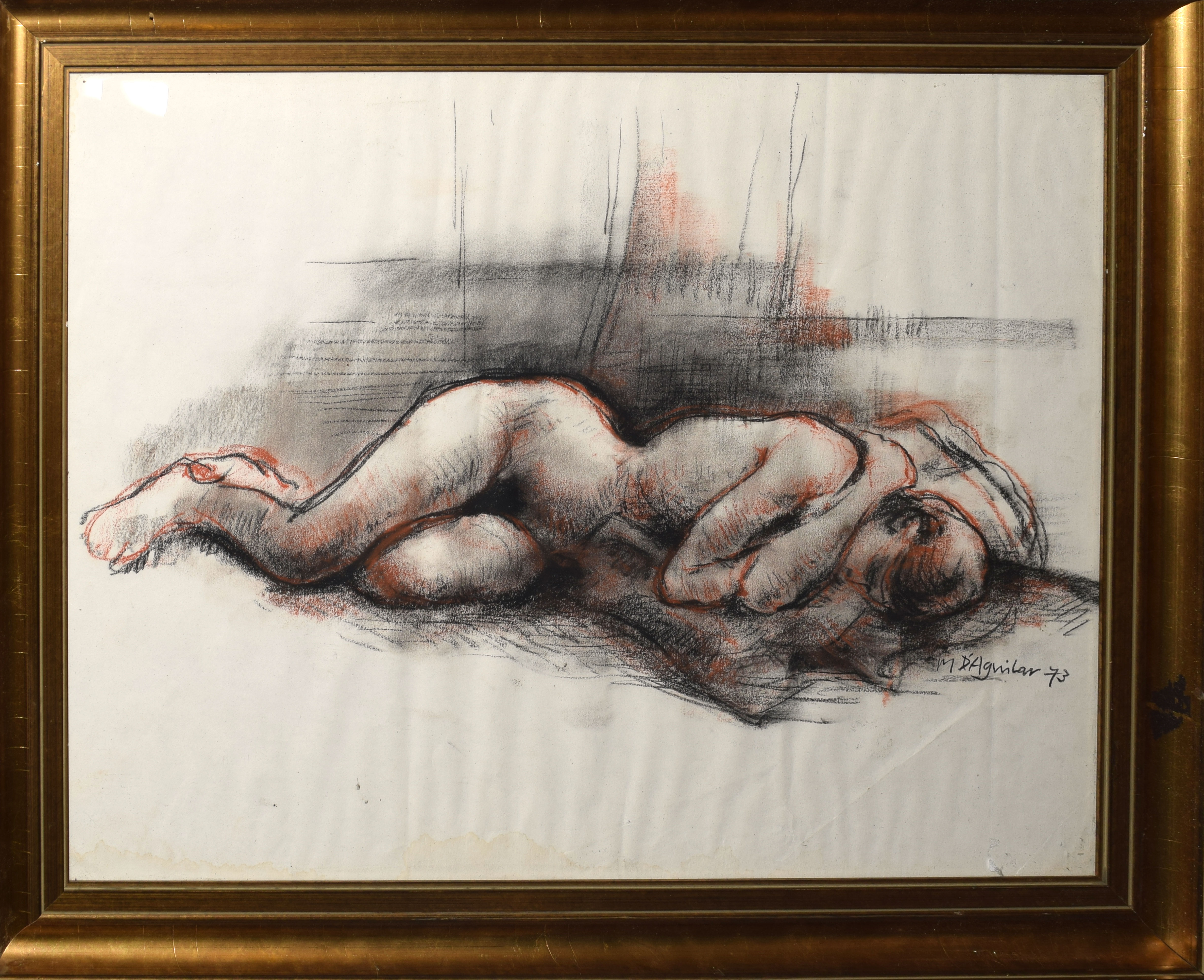 Michael D'Aguilar, Sleeping nude, crayon drawing, signed and dated 73 lower right, 38 x 48cm