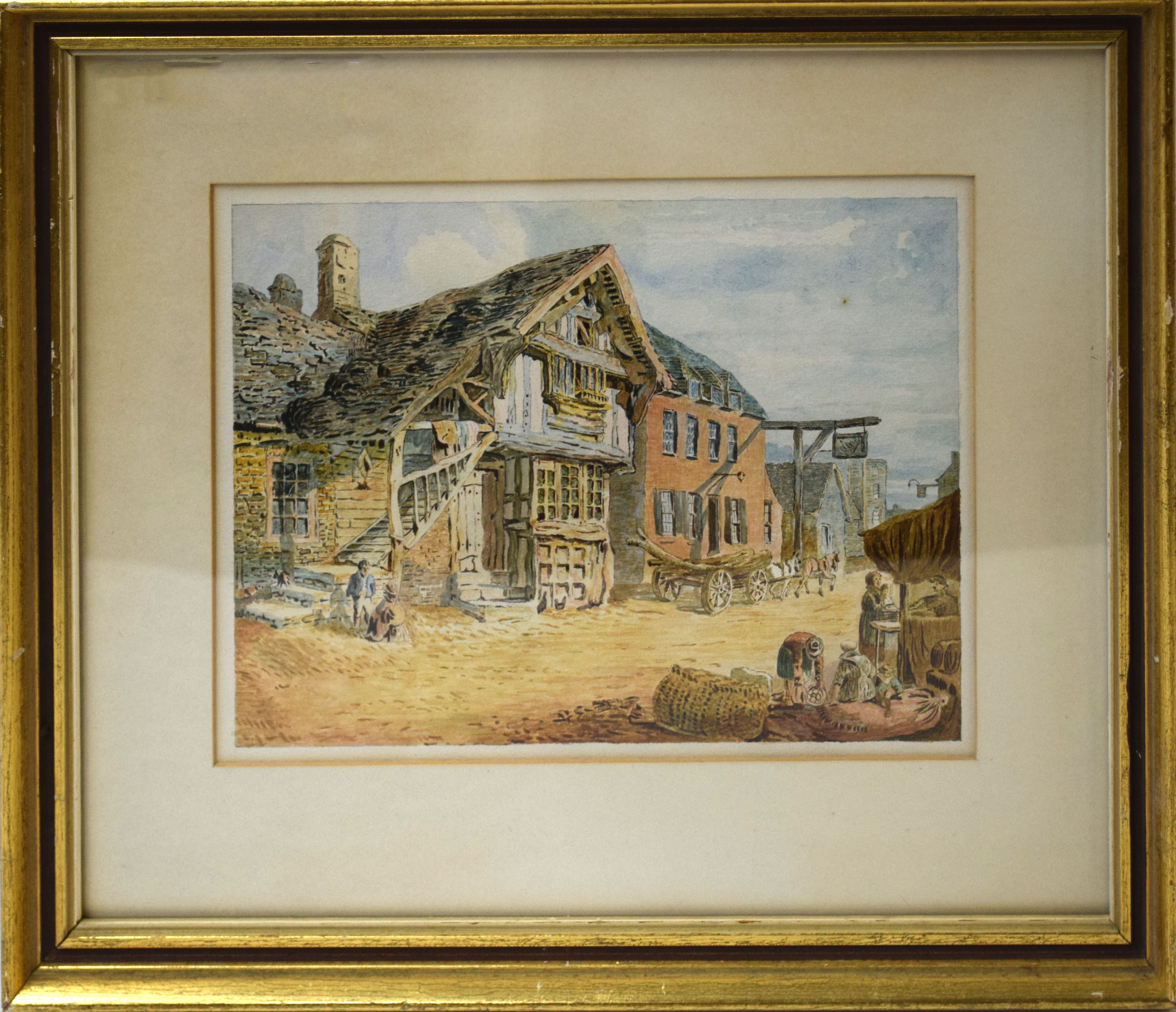 English School (19th century), Street scene, watercolour, 16 x 23cm