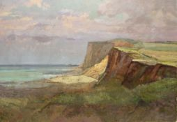 Keith Johnson, Landscape and coastal scenes, pair of oils on board, 58 x 81cm, unframed (2)