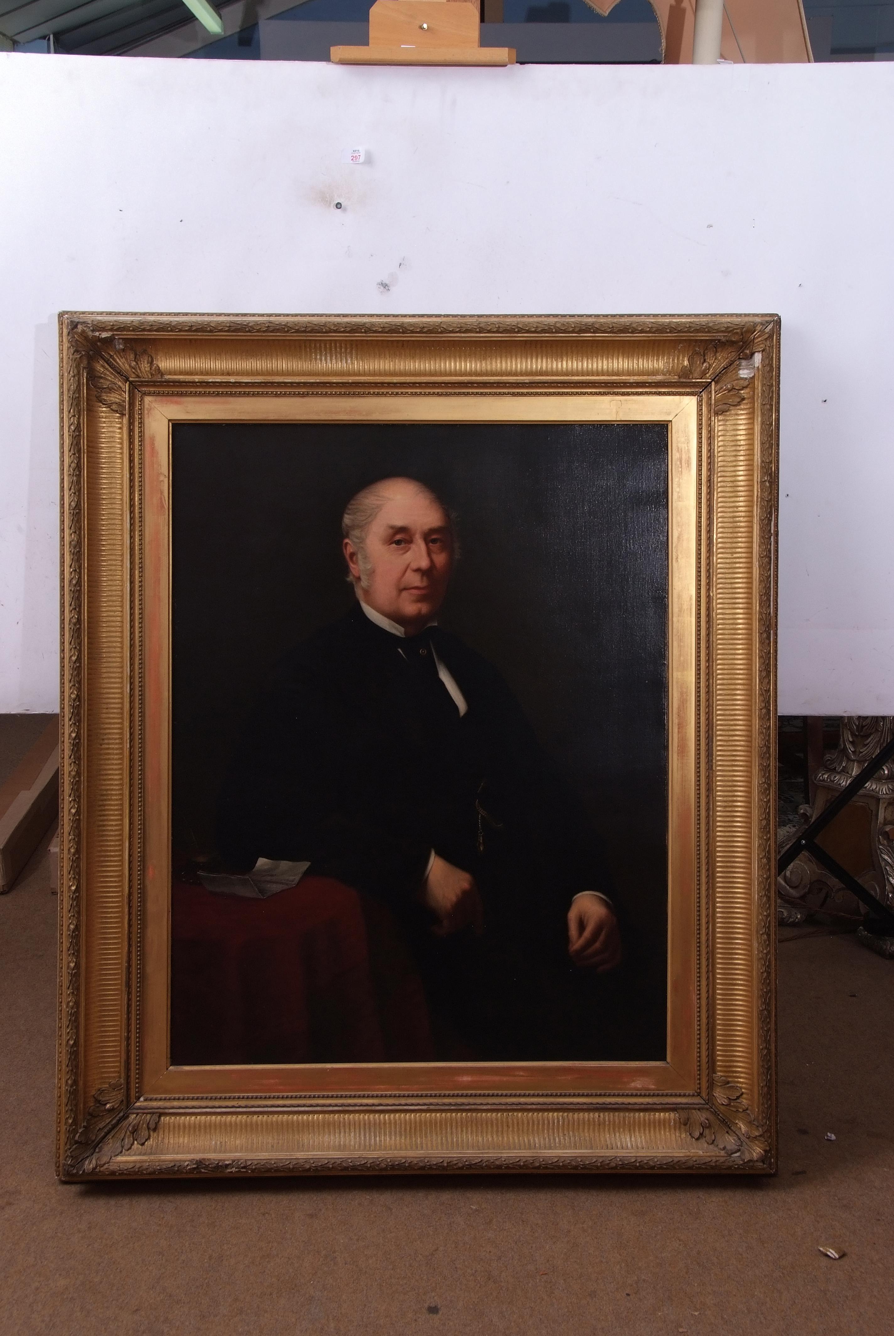 English School (19th century), Half-length portrait of a gent wearing black jacket, oil on canvas,