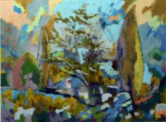 "Keith Johnson, ""Spring garden"", oil on board, signed lower left, 50 x 69cm. Provenance: Norfolk"