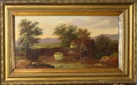 Charles Morris, River landscape with mill and bridge, oil on canvas, signed lower right, 30 x 58cm