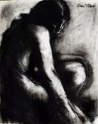 Colin Moss, Crouching Lady, charcoal drawing, signed top right, 76 x 56cm, unframed