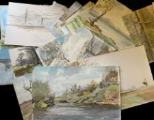 Keith Johnson, Norfolk Lanscapes etc, group of 75 watercolours, some signed and some larger, all