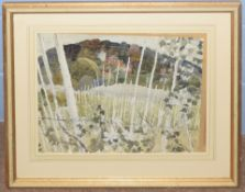 B Walsham (20th century), Landscape, pen, ink and watercolour, signed, 34 x 45cm