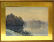 "L G Linnell, ""Morning mist"", watercolour, signed lower left, 34 x 50cm"