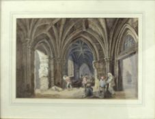 George Cattermole (1800-1868), Figures conversing in a cloister, watercolour, signed and dated 78