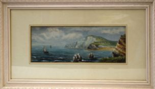 A E Parris, Coastal views, pair of watercolour and gouache, both signed lower right, 13 x 36cm (2)