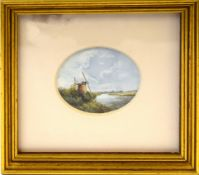 """J M Haylett, """"Hunsett Mill"""" and """"Oby Mill"""", two miniature watercolours, both signed, 6 x 5cm and 5 x"""