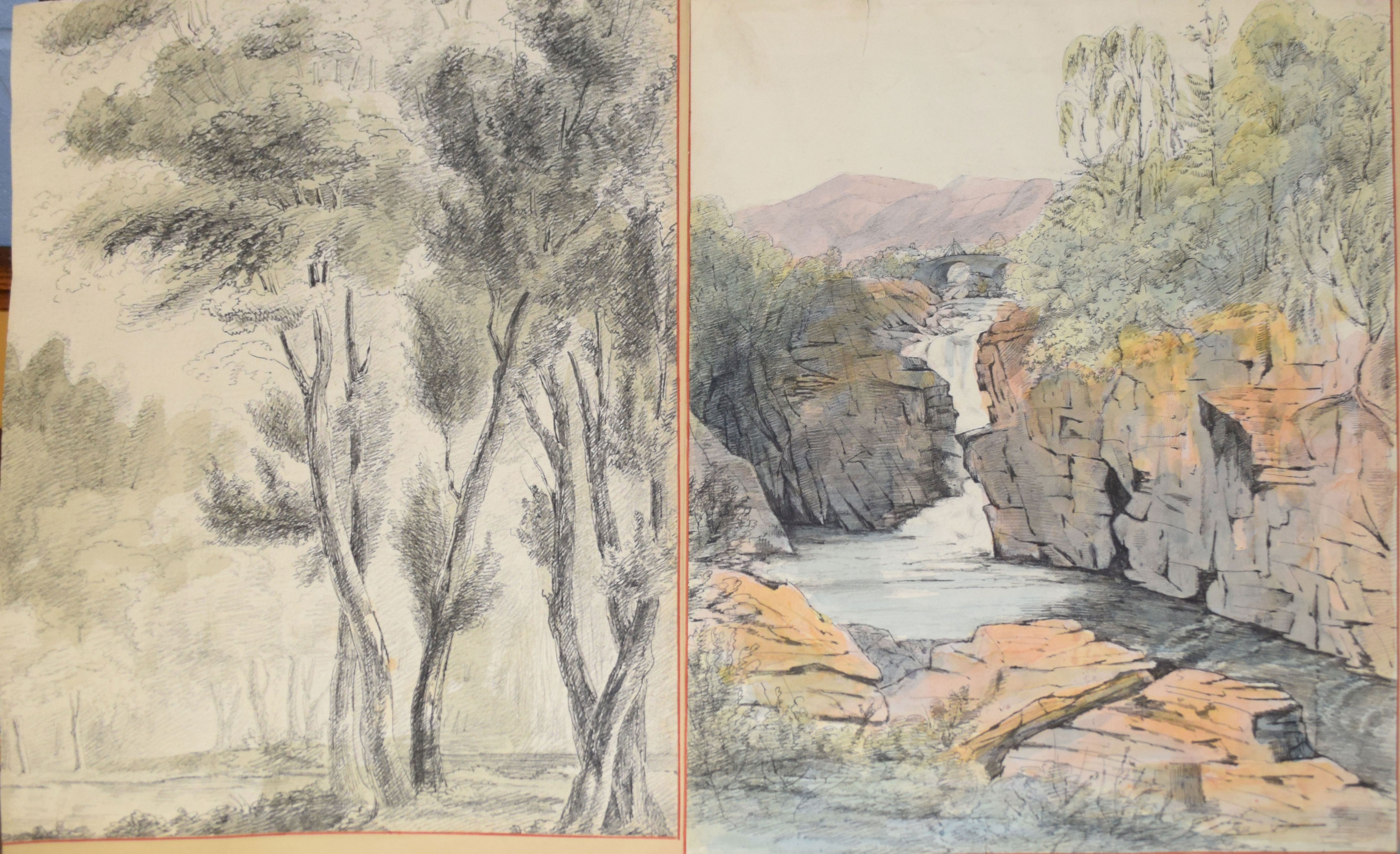 Folder of 19 assorted watercolours and drawings - Image 4 of 5