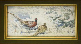 "Jason Partner, ""Pheasants in winter"", watercolour, signed lower right, 9 x 19cm"