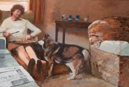 Keith Johnson, Interior scene with lady and dog, oil on board, 56 x 80cm, together with a further