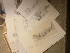 Keith Johnson, Norfolk Landscapes etc, group of 48 watercolours/pencil drawings, assorted sizes, all
