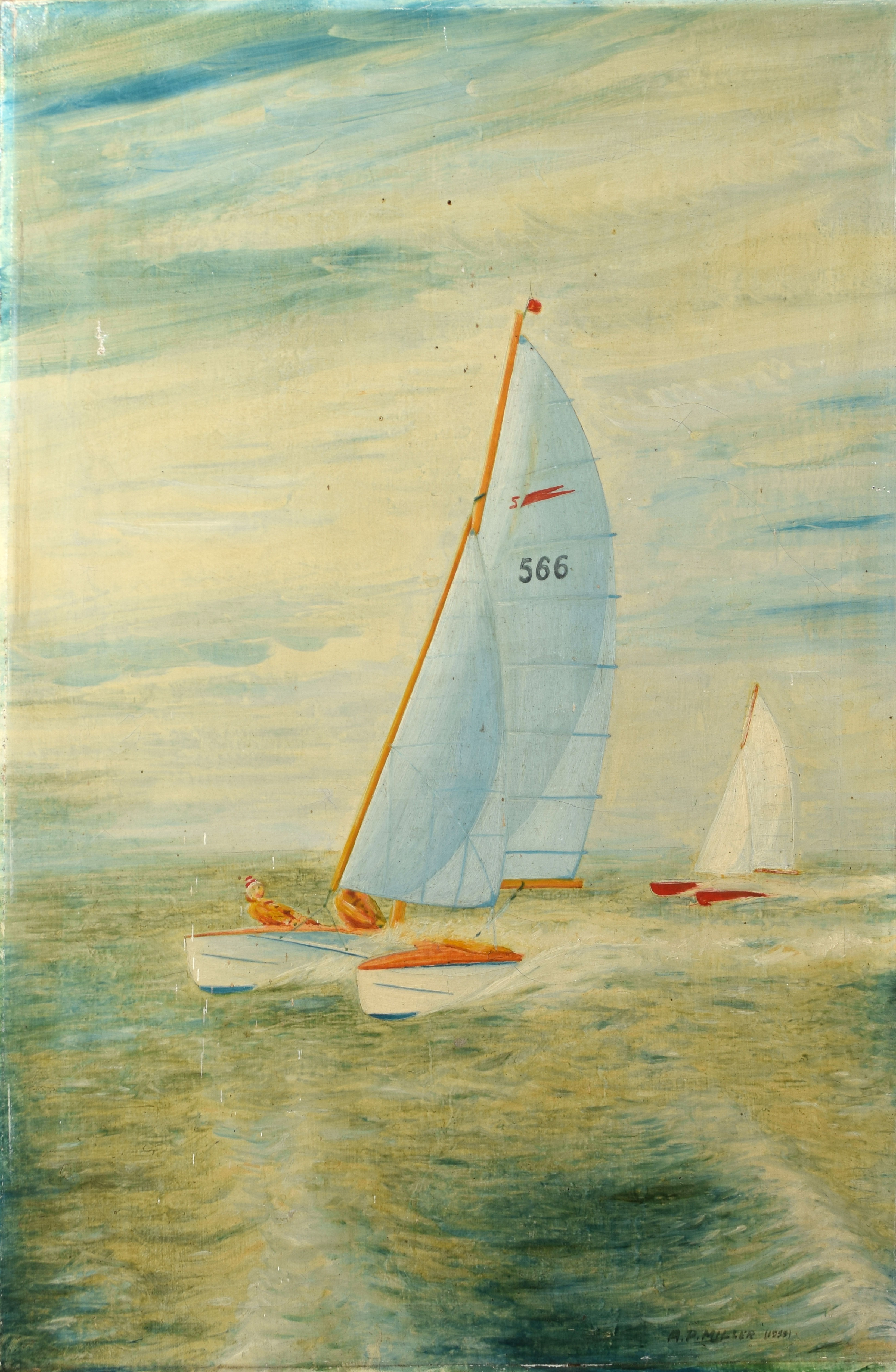 A P Miller, Sailing scene, oil on canvas, signed lower right, 61 x 41cm, unframed