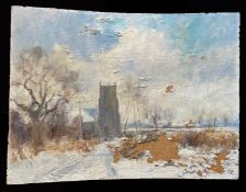 Geoffrey Burrows, Winter on Crostwick Common, and March Day - Runham, pair of oils on board, both