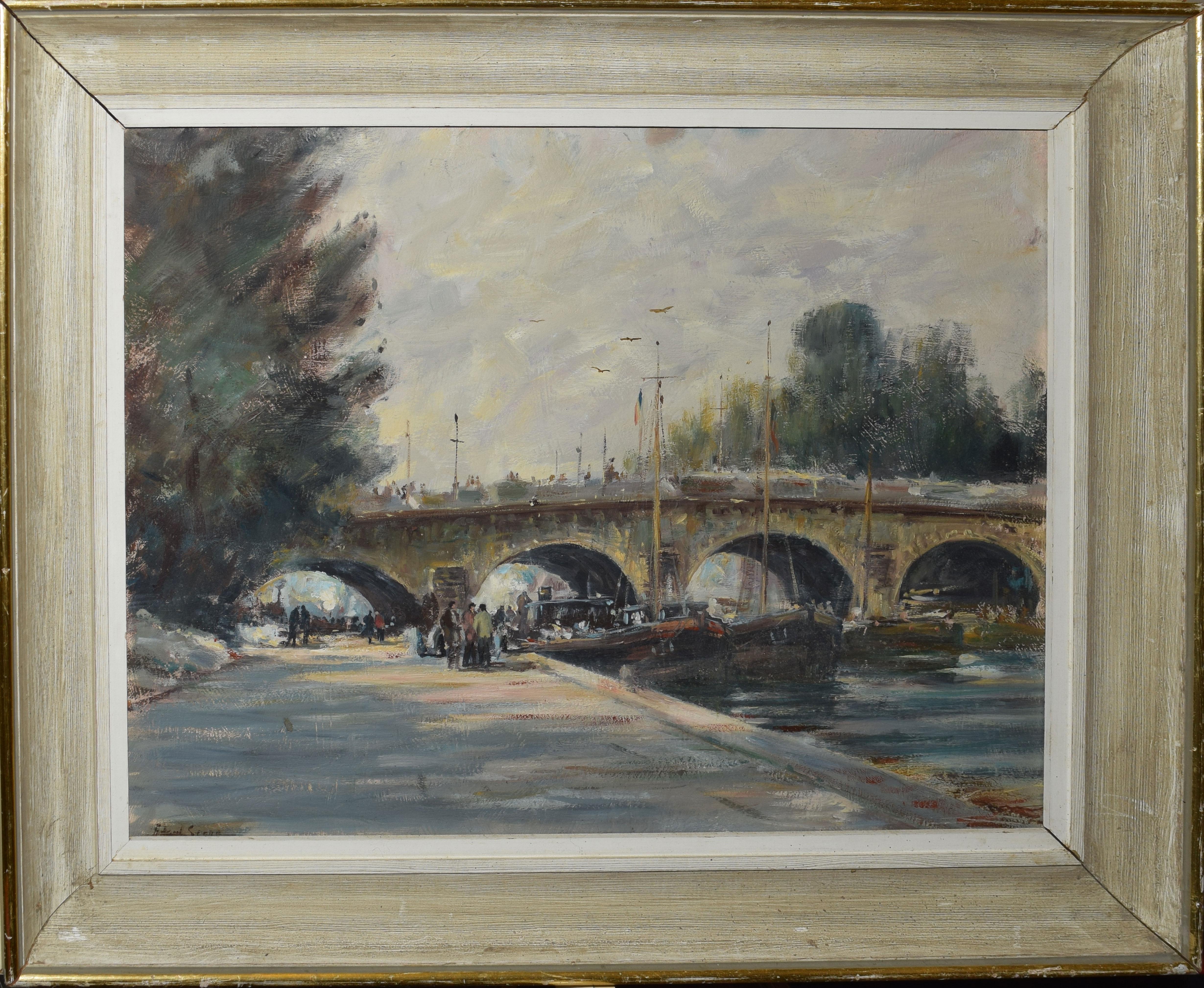 "Follower of Edward Seago, ""Pont Neuf, Paris"", oil on board, bears signature lower left, 36 x 47cm"