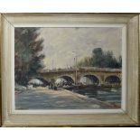 "Follower of Edward Seago, ""Pont Neuf, Paris"", oil on board, bears signature lower left, 36 x 47cm"