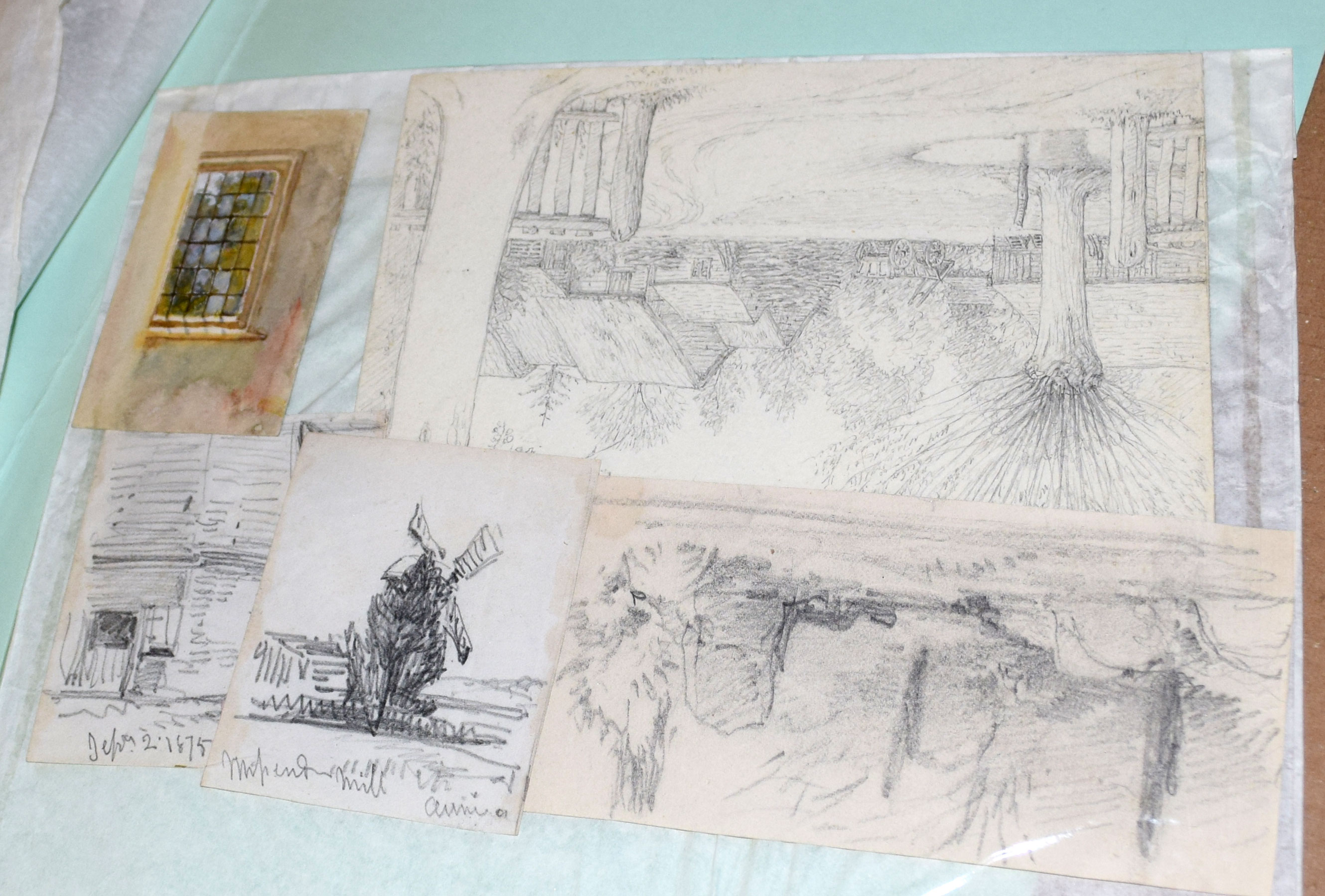 Folder of 19 assorted watercolours and drawings - Image 3 of 5
