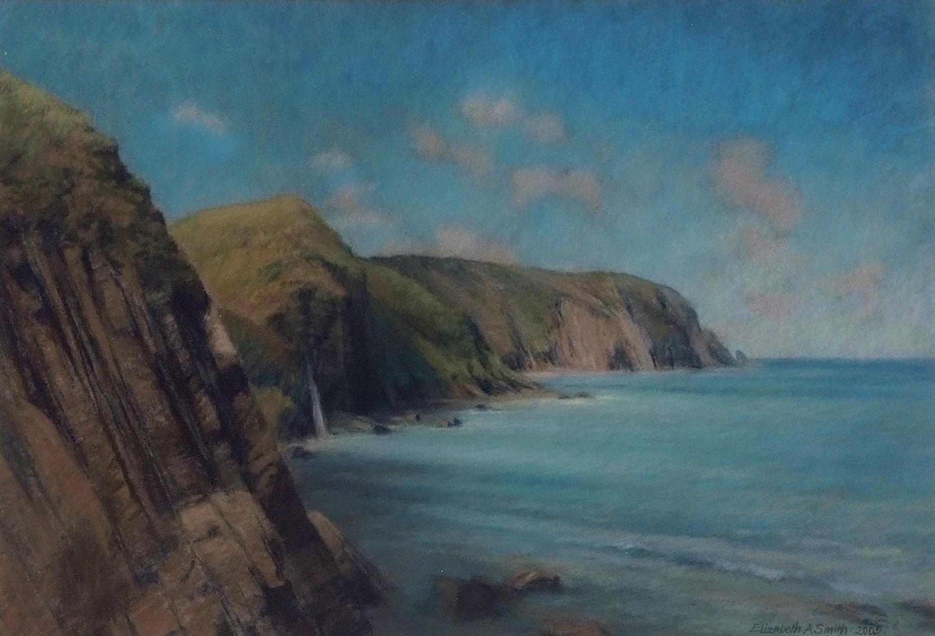 "AR Elizabeth A Smith, PRSMA (contemporary, British) ""Sun on the North Devon Coast from Mouth Mill"""