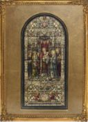 F Hase Hayden, Stained glass window design, watercolour, monogrammed to lower centre, 33 x 23cm