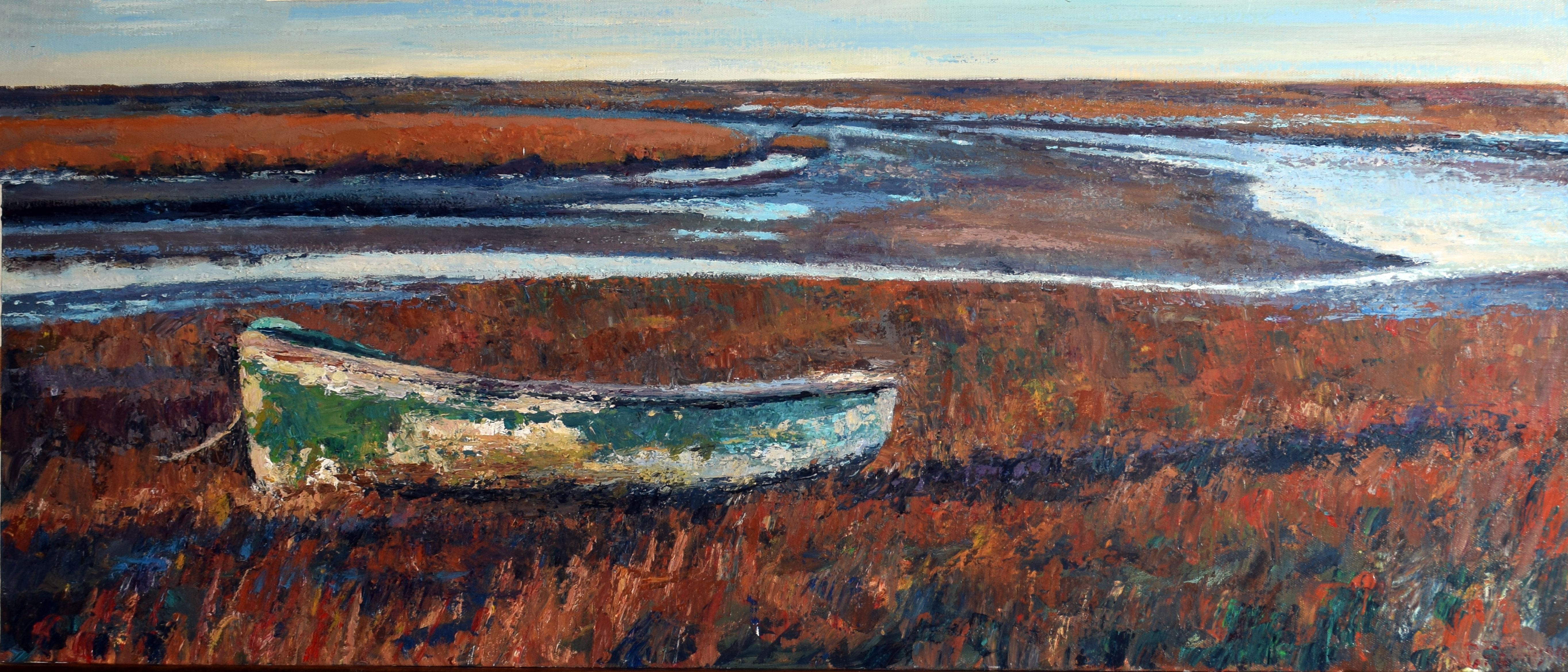 Paul Robinson, Norfolk coastal scene, oil on canvas, signed lower right, 40 x 100cm, unframed