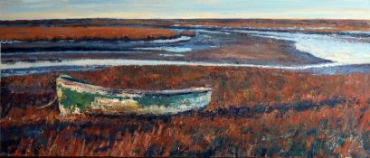 Paul Robinson, Norfolk coastal scene, oil on canvas, signed lower right, 40 x 100cm, unframed