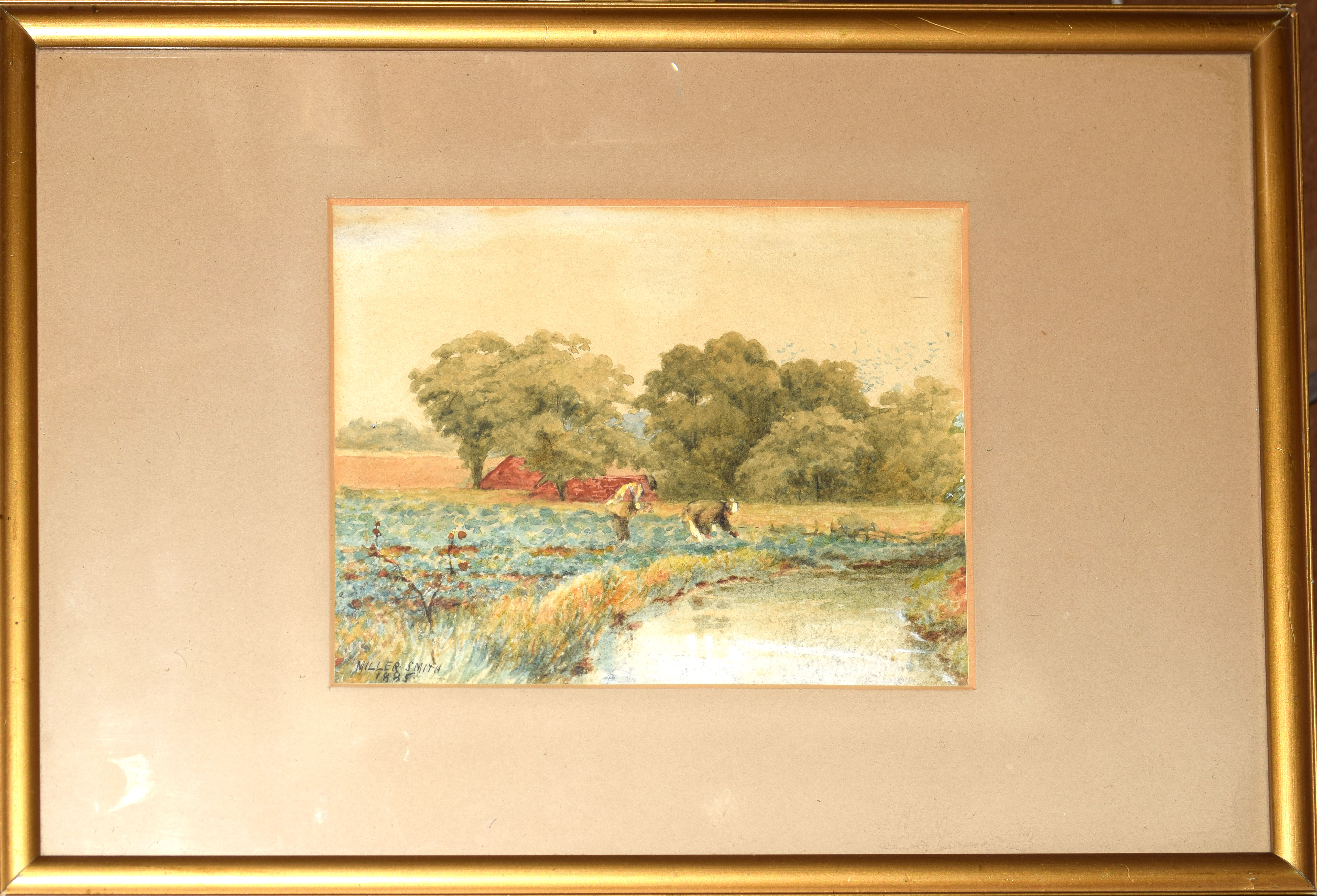 Miller Smith, River landscape with figures, watercolour, signed and dated 1885 lower left, 13 x