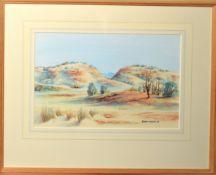 Dennis Kunoth, Australian lanscape, watercolour, signed lower right, 23 x 36cm