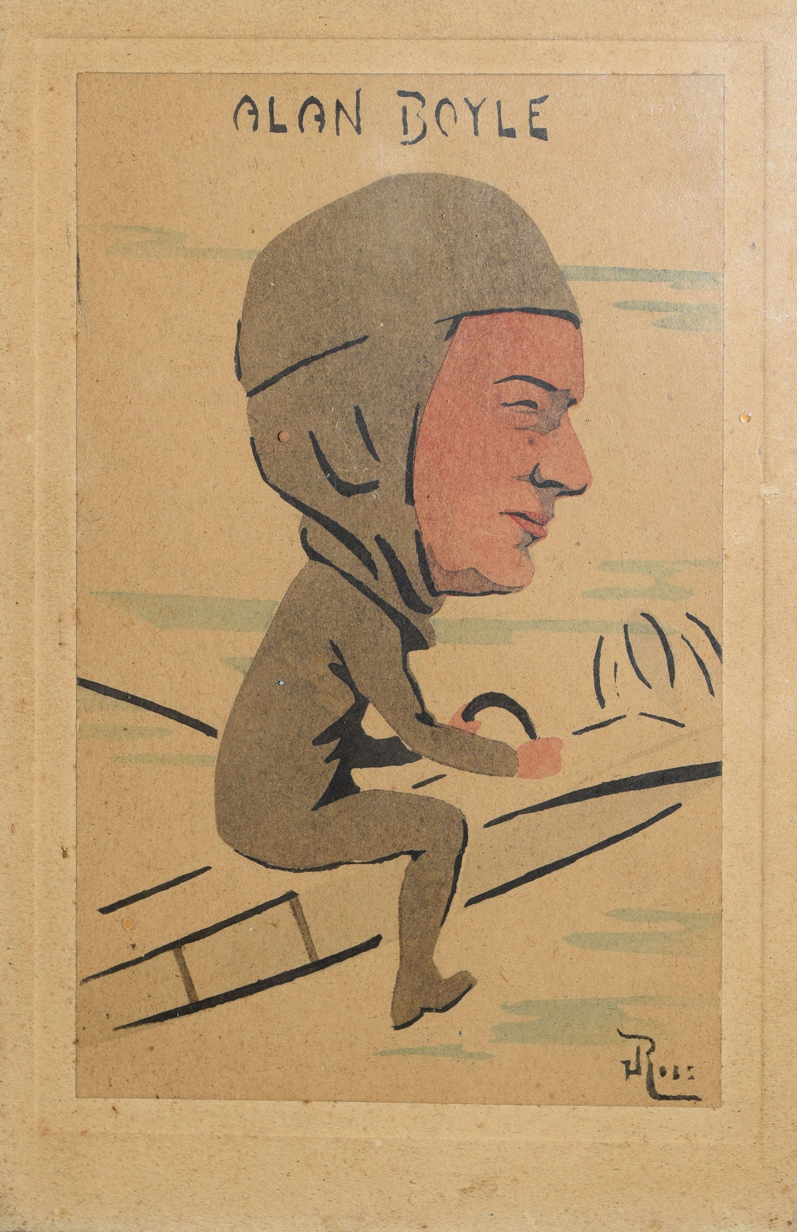 """J Ross, """"Alan Boyle"""", watercolour caricature, signed and inscribed with title, 14 x 9cm"""